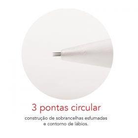 Agulha Dermomag 3 pontas Circular